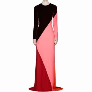 STELLA MCCARTNEY colorblocked velvet silk gown